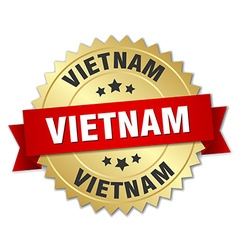 Vietnam round golden badge with red ribbon vector