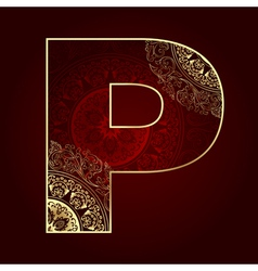 Vintage alphabet with floral swirls letter P vector