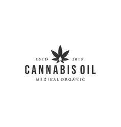 Vintage cannabis logo designs with oil drop vector