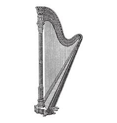 Vintage engraving a harp vector