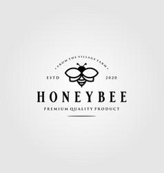 vintage honey bee logo village farm design vector image
