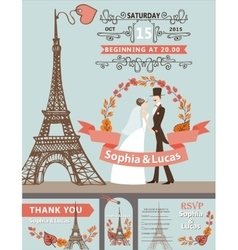 Wedding invitationBride groomEiffel tower vector