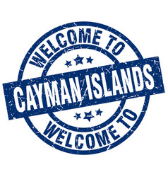 Welcome to cayman islands blue stamp vector