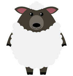 White sheep on white background vector