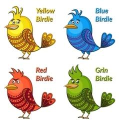 Colorful funny birds set vector