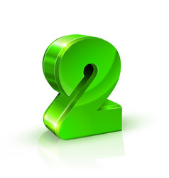 glossy green two 2 number 3d on vector image vector image