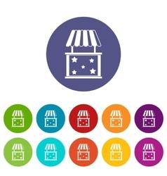 Kiosk set icons vector image