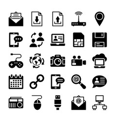 network and communication icons 3 vector image vector image