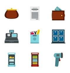 Purchase in shop icons set flat style vector