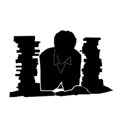 Student and books vector image vector image