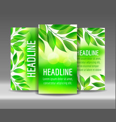 flyer set of green leaves backgrounds vector image vector image
