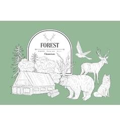 Forest Themed Vintage Sketch vector image