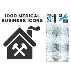 Forge Building Icon with 1000 Medical Business vector image
