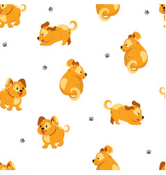funny dog seamless texture vector image
