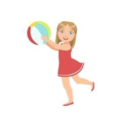 Girl Playing Inflatable Ball vector image vector image