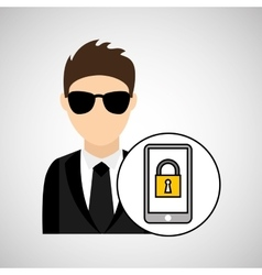 man cartoon smartphone digital technology security vector image