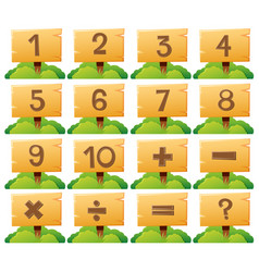 number one to ten on wooden board vector image