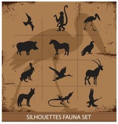 Safari fauna symbols silhouette set collection vector image vector image