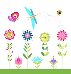 Set of flowers dragonfly ladybug beetle butterfly vector