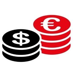 Coins dollar euro icon vector image vector image