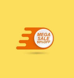 mega sale price tag on a yellow background vector image