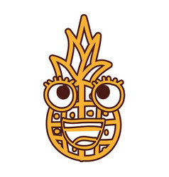 pineapple fruit kawaii character vector image