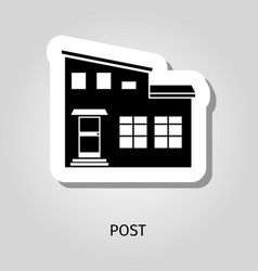 post black silhouette building sticker vector image vector image