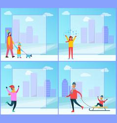 wintertime family cityscape vector image