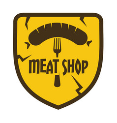 flat retro vintage sausage grill label isolated on vector image