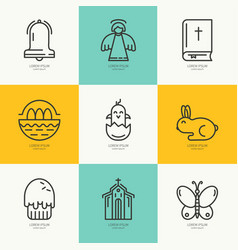 Linear icons with symbols of easter vector