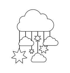 monochrome contour baby mobile with cloud and vector image