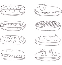 Set of the delicious eclairs vector image vector image