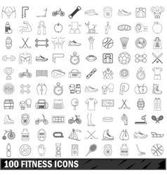 100 fitness icons set outline style vector image