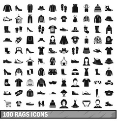 100 rags icons set simple style vector
