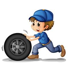 A boy pushing a wheel vector