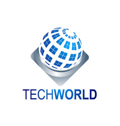 abstract tech world globe logo template vector image