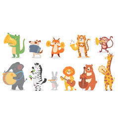 animals play music cute animal playing music vector image