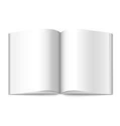 Blank white opened book magazine or photo vector