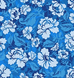Blue Rose seamless pattern Retro floral texture vector