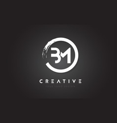 Bm circular letter logo with circle brush design vector