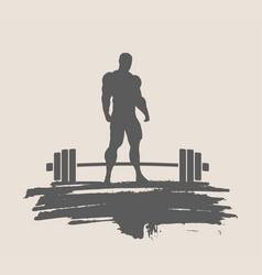 bodybuilder silhouette posing vector image
