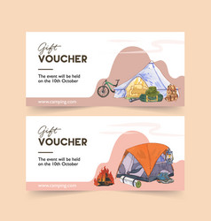 Camping voucher design with bicycle tent boot vector
