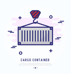 cargo container thin line icon vector image