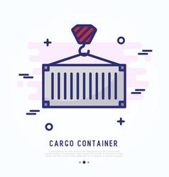Cargo container thin line icon vector