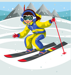 Cartoon girl skiing fast from snowy hill vector