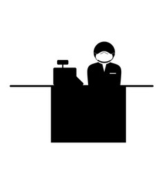 cashier with mask icon black and white pictograph vector image