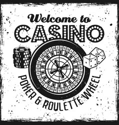 Casino emblem with roulette wheel dice chips vector