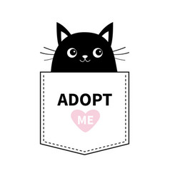 Cat black face in pocket adopt me pink heart vector