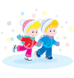 Children skating vector