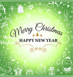 Christmas post card with doodles big set of vector